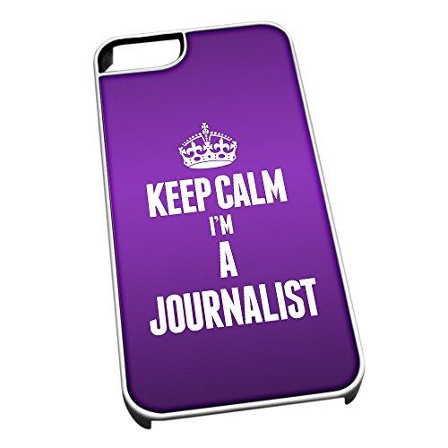 Bianco cover per iPhone 5/5S 2612viola Keep Calm I m A Journalist