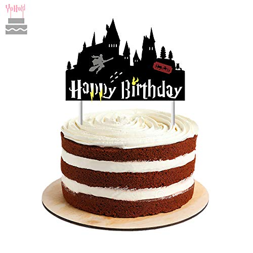 YoHold Wizard Cake Topper for Halloween, Wizard Party Supplies Decorations, 1 Pack, Black -