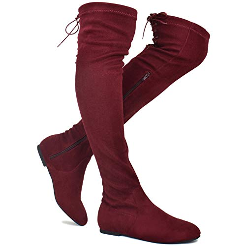 Premier Standard - Women's Fashion Comfy Vegan Suede Side Zipper Over Knee High Boots, TPS Boots-04Eikciv Burgundy Su Size ()