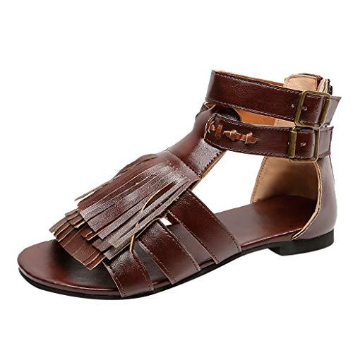 (ANJUNIE Womens Tassel Flats Fringe Open Toe Shoes Ladies Slippers Beach Roman Sandals(Coffee,39=US: 7))