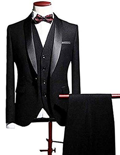 Botong Black Shawl Lapel Men Suits 3 Pieces Wedding Suits for Men Groom Tuxedos Black 50 Chest / 44 Waist