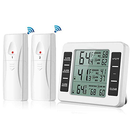Pawaca Refrigerator Thermometer, Indoor Digital Temperature with 2 Wireless Sensors, Indoor Outdoor Thermometer with Audible Alarm and Min/Max Record