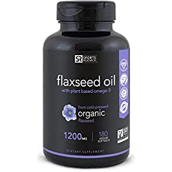 Vegan Flaxseed Oil with Plant Based Omega's 3,6 & 9   Promotes Cardiovascular Health, Immune Support & Healthy Hair + Skin   Vegan Certified & Non-GMO Project Verified (180 Veggie-Softgels)