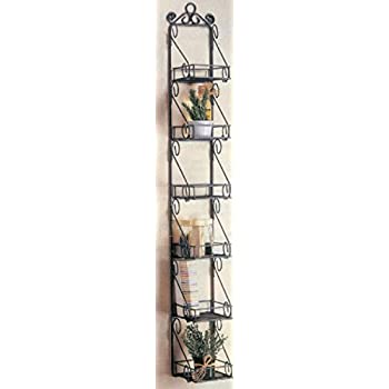 Amazon Com Spice Rack With 6 Metal Scroll Design Basket