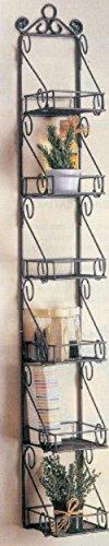 - Spice Rack with 6 Metal Scroll Design Basket Shelves