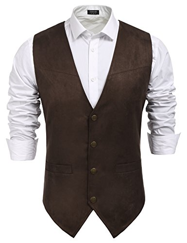 COOFANDY Men's Suede Leather Suit Vest Casual Western Vest Jacket Slim Fit Vest Waistcoat (Medium, Coffe) ()