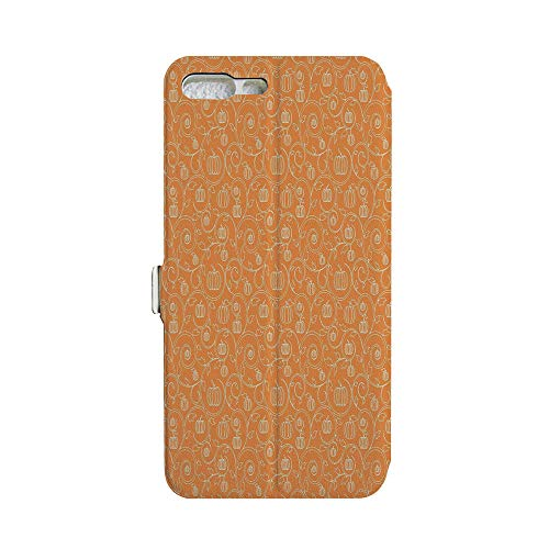 Phone case Compatible with iPhone 7Plus/iPhone 8Plus 3D Printed PU Skin Cover Protection Sleeve,Leaves and Swirls on Orange Backdrop Halloween,iPhone case Premium PU Leather Magnetic Flip Folio Pr ()
