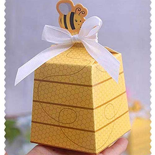 Tyro 100 PCS European Yellow Bee Style Favors Candy Boxes Gift Box with White Ribbons Baby Shower Birthday Party Wedding Supplies