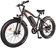 DJ Fat Bike 500W 48V 13Ah Power Electric Bicycle, Matte Black, LED Bike Light, Suspension Fork and Shimano Gea