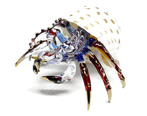 NaCraftTH Glass Figure Hermit Crab in Seashell Murano Glass Blow Artwork Handicraft Crystal Ocean Sea Animal Figurine Fish Tank Aquarium Decorations (Big)