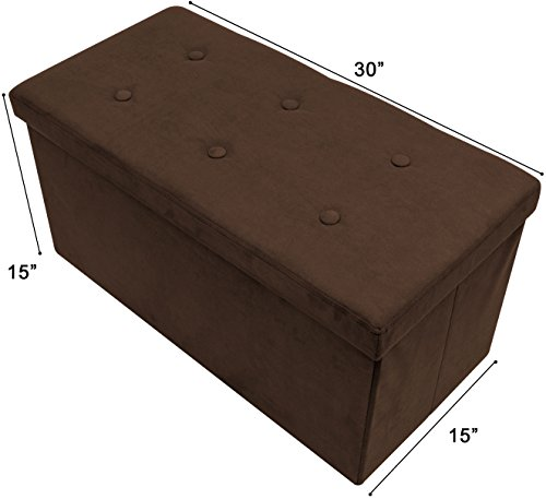 Sorbus Storage Ottoman Bench – Collapsible/Folding Bench Chest with Cover – Perfect Toy and Shoe Chest, Hope Chest, Pouffe Ottoman, Seat, Foot Rest, – Contemporary Faux Suede (Medium-Bench, Chocolate) - Chocolate Leather Bed