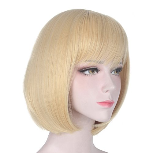 Short Blonde Bob Wig With Bangs Natural Look Cosplay Straight Hair Wigs for Women 13