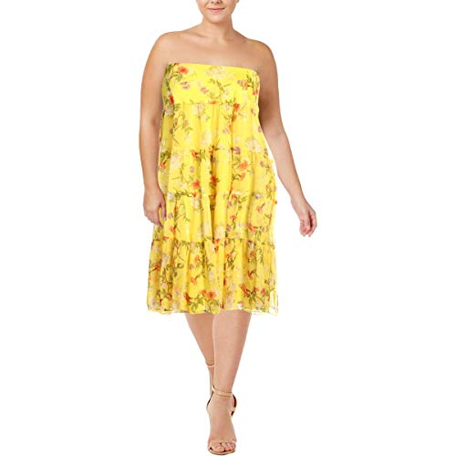 LAUREN RALPH LAUREN Womens Plus Moriah Floral Georgette Maxi Skirt Yellow 1X