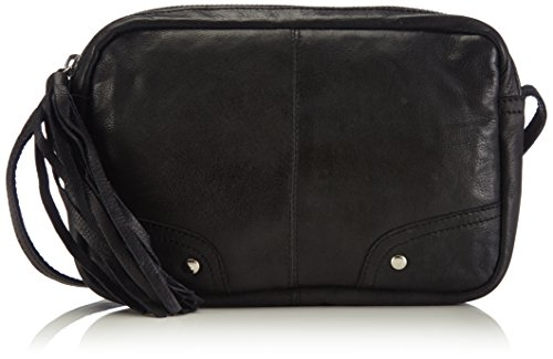 Pieces PCMORE Leather Cross Over Bag - Bolso de Hombro de Cuero Mujer Negro - Negro