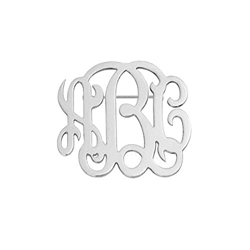 Ouslier Personalized 925 Sterling Silver Monogram Name Brooch Pin Custom Made with 3 Initials (Silver) 925 Sterling Silver Brooch