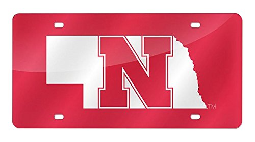 NCAA Nebraska Cornhuskers Red Background Laser Cut Auto (Ncaa Nebraska Cornhuskers Logo Plate)