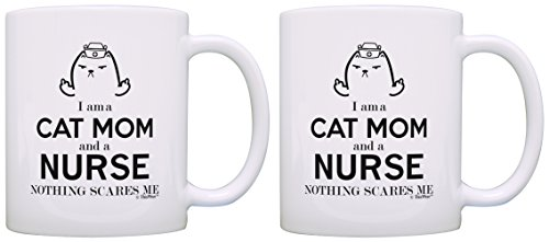 Nursing School Gifts I am a Cat Mom and a Nurse Nothing Scares Me Nurse Gifts for Sister Nurse Gifts 2 Pack Gift Coffee Mugs Tea Cups White