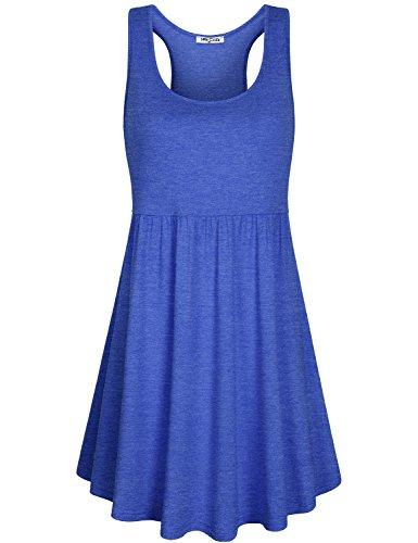 SeSe Code Jersey Dress, Women Sleeveless Dresses Summer Causal Garment Empire Waist Flattering Peplum Flowy Pleats Comfortable Stretchy Texture Relaxed Party Fit Sundress Blue Large Empire Waist Tank Dress