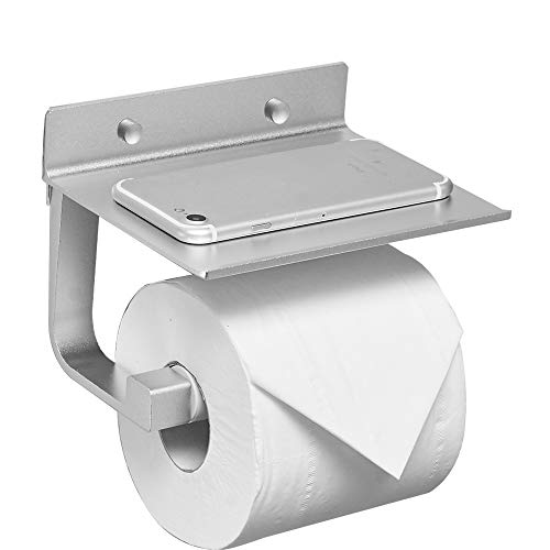 BESy Self Adhesive Pivoting Toilet Paper Holder Shelf, Bathroom Tissue Roll Hanger Mobile Phone Storage Shelf, Aluminum, Drill Free Glue Wall Mount Screws, Dull Polished Silver by BESy