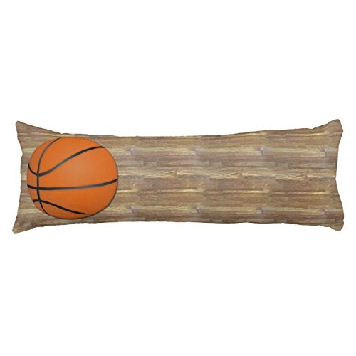 UOOPOO Basketball Wood Floor Typography Polyester Body Pillow Cover Square 20 x 54 Inches for Bed Print on Twin Sides
