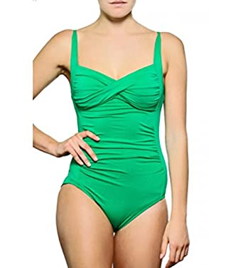 f12bee000cd Seafolly Goddess Twist Bandeau Maillot Swimsuit in Envy UK 8: Amazon.co.uk:  Clothing