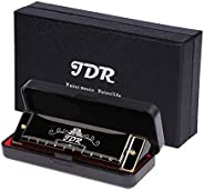 JDR Harmonica ,10 Holes 20 Tones Blues Harmonica Key of C ,With 1mm Plate Structure For Beginners, Kids, Music