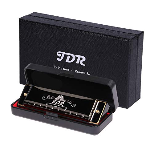 JDR Harmonica ,10 Holes 20 Tones Blues Harmonica Key of C ,With 1mm Plate Structure For Beginners, Kids, Musician, Suitable For Any Occasion, Like Blues, Folk, Jazz and Pop