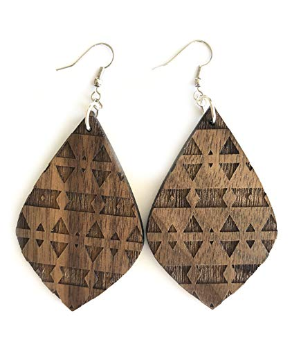 Grounded Goods Design Teardrop Engraved Wood Earring (Brown/Walnut) ()