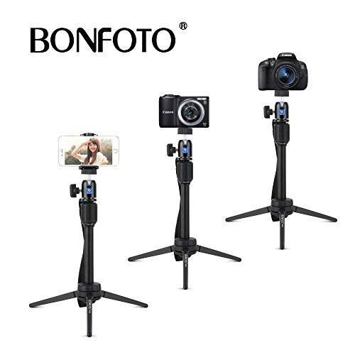 BONFOTO B72M Aluminum Swivel Ball Head Tabletop Tripod with Carrying Bag and Smartphone Holder for GoPro 1,2,3,3+,4,Smartphone,Interchangeable Lens Digital Camera and Most DSLR Cameras with 1/4\