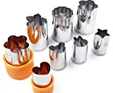 Garloy Vegetable Fruit Cutters Shapes Set,8 Pcs Mini Cheese Cookie Cutters Stamps for Kids