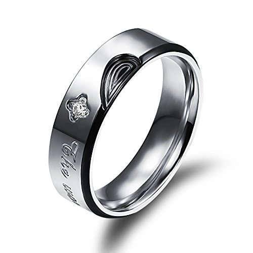 OPK Jewelry Matching Set His & Her Wedding Band Real Love Stainless Steel CZ Engraved Couples Ring Set