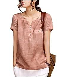 Sarriben Womens Summer Soft Casual Short Sleeve Linen Shirts Blouse Tops V Neck