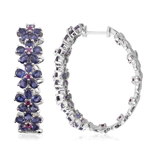 Garnet Iolite Jewelry Set - Iolite Rhodolite Garnet Platinum Plated Silver Hoops Hoop Earrings For Women Hypoallergenic 7 Cttw