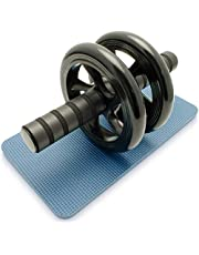 GOGOING Dual Ab Wheel Roller Abdominal Exercise Roller With Knee Pad Mat & Comfort Foam Handles - Perfect for Fitness Home & Gym Workout