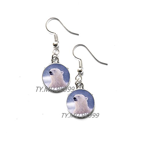 (Yao0dianxku Tribal bear Earrings spirit guide Earrings polar bear totem amulet teddy bear Earrings wolf Stud Earrings white bear Earrings polarbear Earrings.Y152 (2))