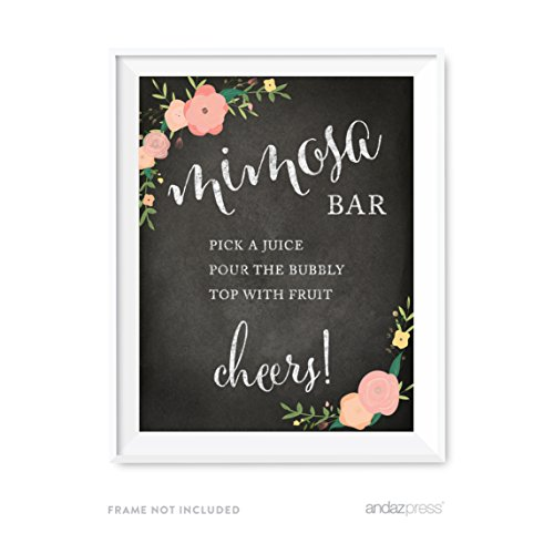 Mimosa Dessert - Andaz Press Wedding Party Signs, Chalkboard Pink Coral Floral Roses Print, 8.5x11-inch, Build Your Own Mimosa Sign Pick a Juice, Pour the Champagne Cheers! Dessert Table Sign, 1-Pack