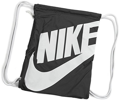 Nike Heritage Drawstring Gymsack Backpack 400 Denier Sport Bookbag (Classic Black with Signature White Swoosh) -