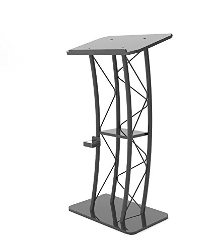 FixtureDisplays Curved Podium, Truss Metal/Wood Pulpit Lectern with A Cup Holder 11568-H!