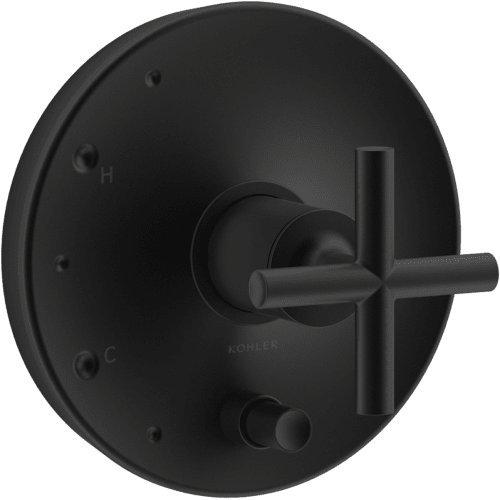 - KOHLER T14501-3-BL Purist Rite-Temp Pressure-Balancing Valve Trim with Cross Handles, Matte Black