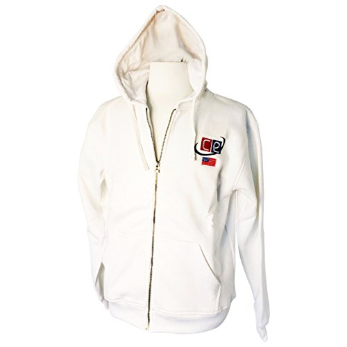 White Fleece Hoodie - Sweatshirt With Silver Zipper USA Flag & CE Logo - Snow White by Cricket Equipment USA (Small - - Cricket Mens Hoodie