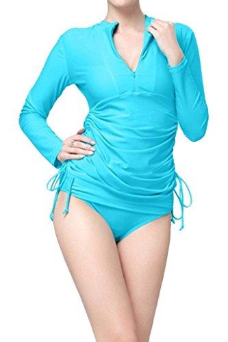 Obosoyo UV Sun Protection Long Sleeve Women's Swimming Shirt Blue L-US8
