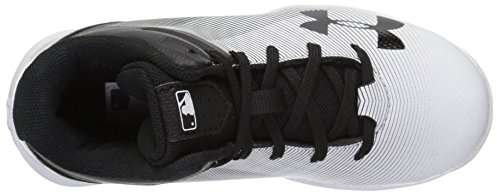 Under Armour Boys' Leadoff Mid Jr. RM Baseball Shoe, Black (011)/White, 1 by Under Armour (Image #8)