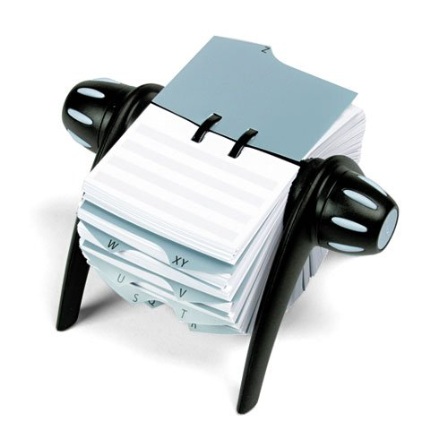 Durable® TELINDEX Rotary Address Card File Holds 500 4 1/8 x 2 7/8 Cards, Graphite/Black