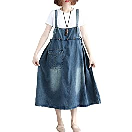 Innifer Women's Plus Size Suspender Strap A Line Denim Bib Jean Overall Dress