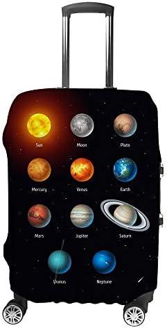 スーツケースカバー トラベルケース 荷物カバー 弾性素材 傷を防ぐ ほこりや汚れを防ぐ 個性 出張 男性と女性太陽系オブジェクト