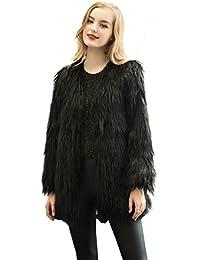 Women Vintage Winter Outwear Warm Fluffy Faux Fur Coat Jacket Luxury