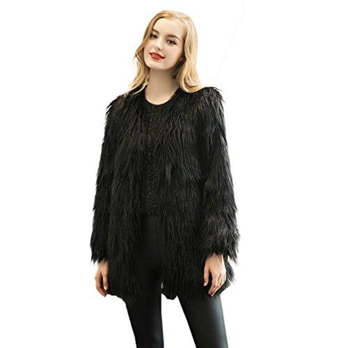 Caracilia Vintage Winter Warm Fluffy Faux Fur Coat Jacket Black Tag XXL 37/Long