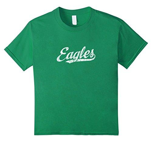 Kids Eagles Mascot T Shirt Vintage Sports Name Tee Design 8 Kelly Green