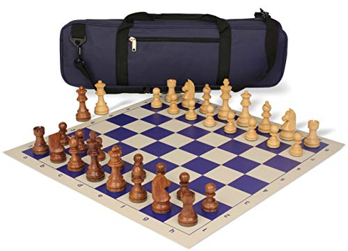 Knight Set Chess German - German Knight Carry-All Chess Set Package Acacia & Boxwood Pieces - Blue
