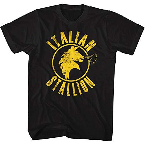 Rocky T-Shirt Distressed Yellow Italian Stallion Black Tee, Medium